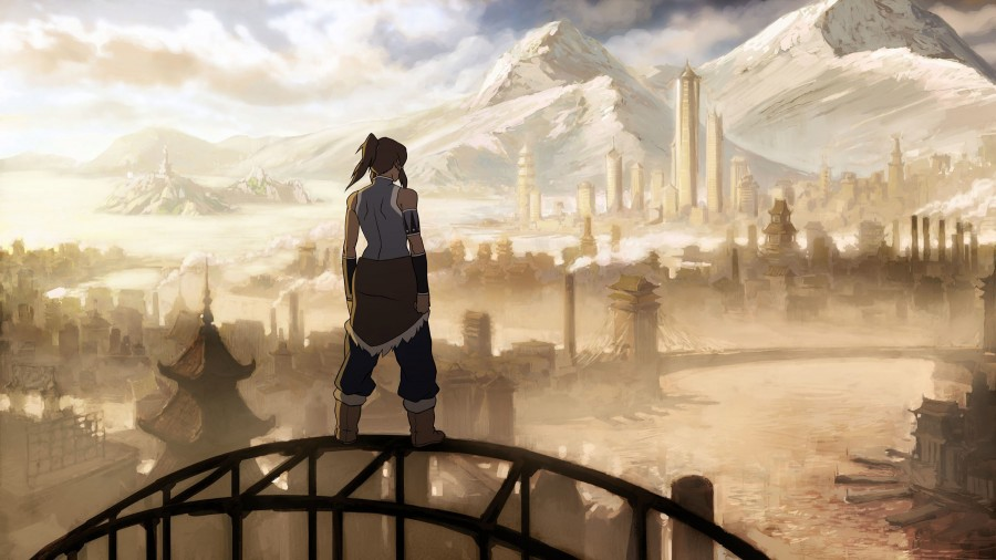 Korra gazing at Republic City.