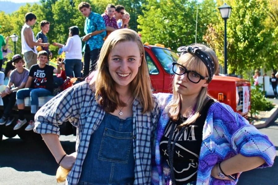 Seniors Delaney Swink and Paris Connor (from left) pose as a hick and a hipster (guess which is which!)