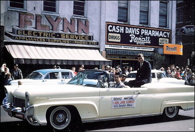 JFK as the grand marshal of the Pear Blossom Parade in 1960 during his presidential campaign.  Photo credits to Shirrel Doty.