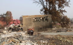 The word Spirited persists on the side of a metal shed in the midst of the Almeda fire devastation.